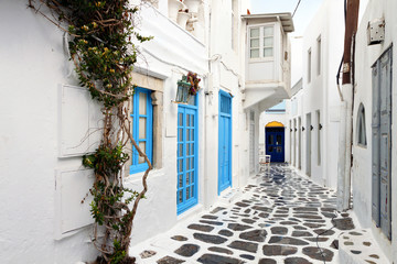 Traditional streets of Mykonos island in Greece