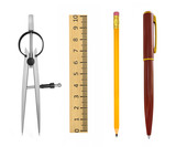 tools for measurement, drawing, scale, pencil, pen