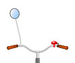 Handlebar of a bicycle with bicycle bell and rear view mirror