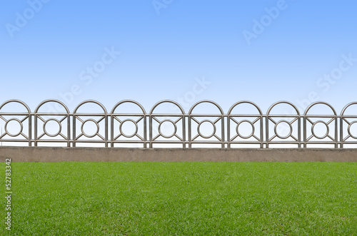iron fence on grass