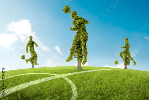 Trees in the shape of soccers player