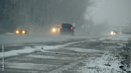 wet snowy road, cars