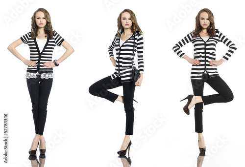 Full body Pretty three young woman in stripy shirt and jeans