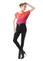 full length view of casual red dressed blonde girl posing