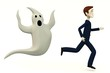 3d render of cartoon character with ghost