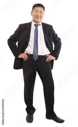 Happy asian business man isolated