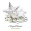 Silver Christmas bauble,star and angel on white background