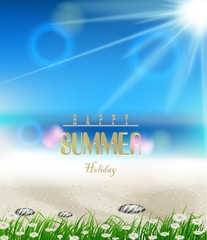 beach summer background with grass