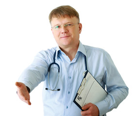 A male doctor with folder giving his hand for a handshake