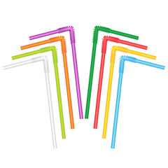 straws for a cocktail on a white background