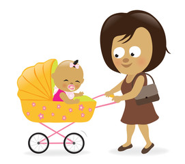Woman with baby carriage 2