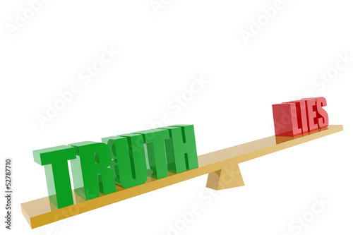 Truth and lies symbols in balance