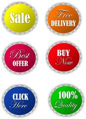 Collection of color vector offer buttons