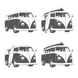 Fototapety Vintage camper bus van with surfboards
