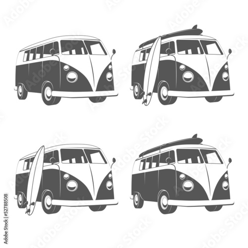 Vintage camper bus van with surfboards
