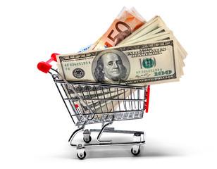 Ready for shopping -  cart full of cash