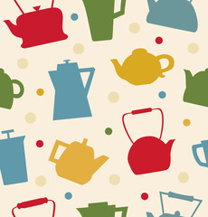 Colorful pattern with different teapots.