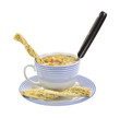 Cup of chowder with twisted crackers