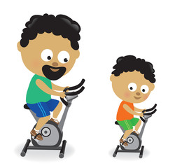 Father and son riding exercise bikes 2