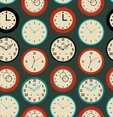 Seamless pattern texture with round clocks