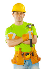 a worker holding hammer