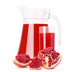 Pomegranate fruit juice in glass pitcher