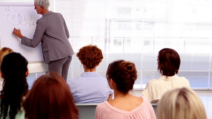 Businesswoman giving a lecture to other businesswomen