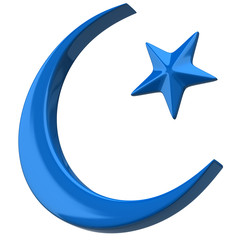 Blue Crescent Islamic symbol on white background