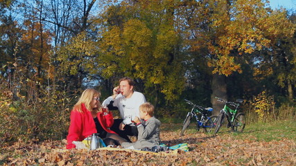 active recreation, picnic, happy family, autumn