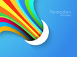 Crescent Moon with colorful rays on blue background, concept fo