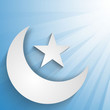 Crescent Moon with star on rays background, concept for Muslim