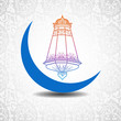 Crescent Moon with stars, concept for Muslim community holy mon