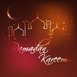 Ramadan Kareem background with illuminated Mosque or Masjid and