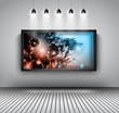 Modern interior art gallery frame design with spotlights.