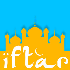 Ramadan Kareem background with Mosque or Masjid and text Iftar.