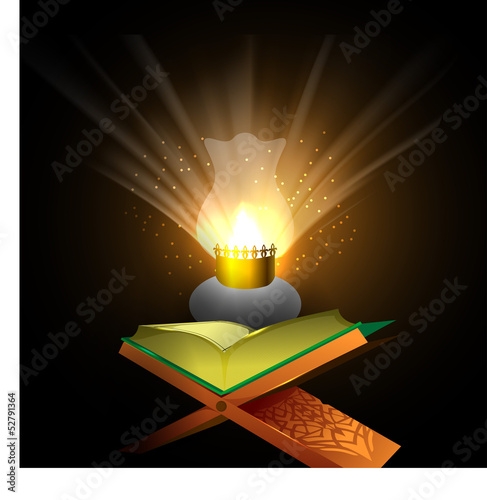 Open Islamic holy book Quran Shareef in illuminated lantern lig