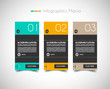 Infographic design template with paper tags.