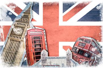 Collage Londres Union Jack vintage