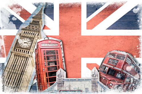 Collage Londres Union Jack vintage