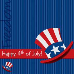 Patriotic Uncle Sam hat Happy 4th of July card