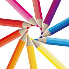Farbige Buntstifte Bunt Malen zeichnen Kreis schräg
