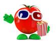 Tomato eats popcorn at the 3d movie