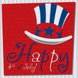 Patriotic Uncle Sam hat Happy 4th of July card