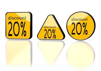 discount symbol on three warning signs