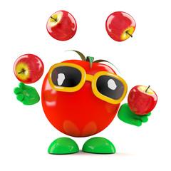 Tomato juggles some tasty apples