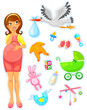 pregnant woman with a collection of items related to babies