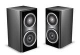Two black audio speakers. Vector illustration