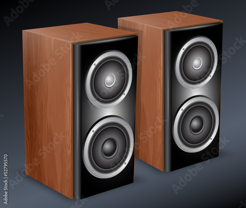 Wooden audio speakers. Vector illustration
