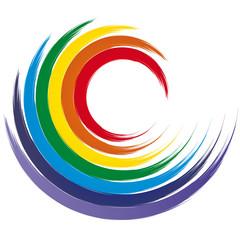 Wirbel - Welle in Chakra Farben