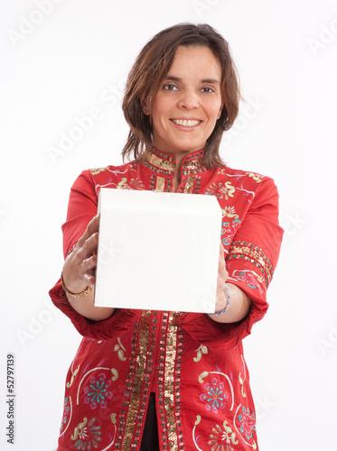 Woman handing a box